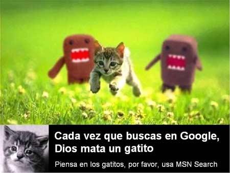 Cada vez que buscas en Google, Dios mata un gatito